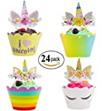 Unicorn Cupcake Toppers and Wrappers with Rainbow / Flower / Crown for Kids Birthday Party and Weeding Decoration,24 Sets,by Gloween
