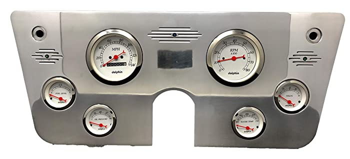 Dolphin Gauges 1967 1968 1969 1970 1971 1972 Chevy Truck 6 Gauge Dash Cluster Panel Set Mechanical White