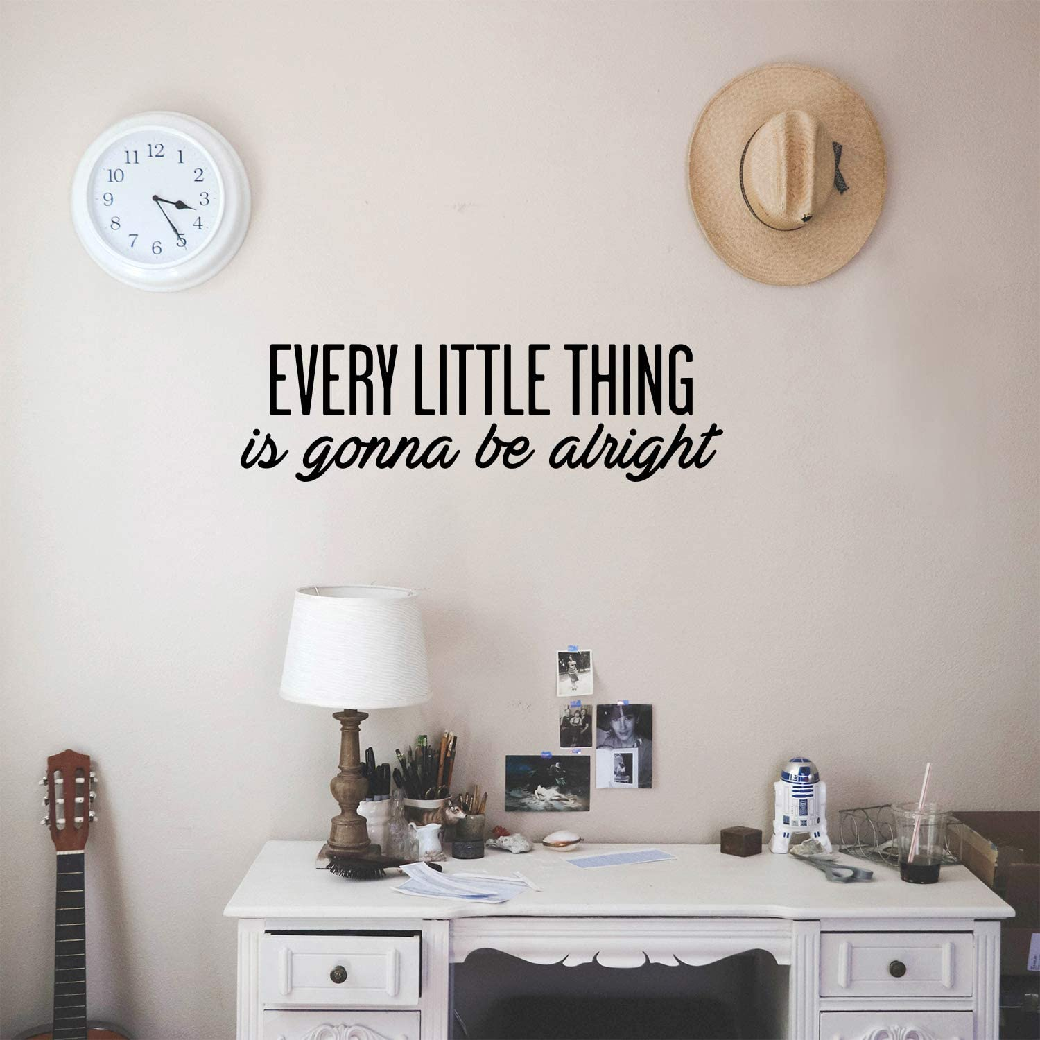 "Vinyl Wall Art Decal - Every Little Thing is Gonna Be Alright - 7"" x 25"" - Modern Cute Optimistic Quote Sticker for Bedroom Closet Living Room Playroom Office Classroom School Coffee Shop Decor"