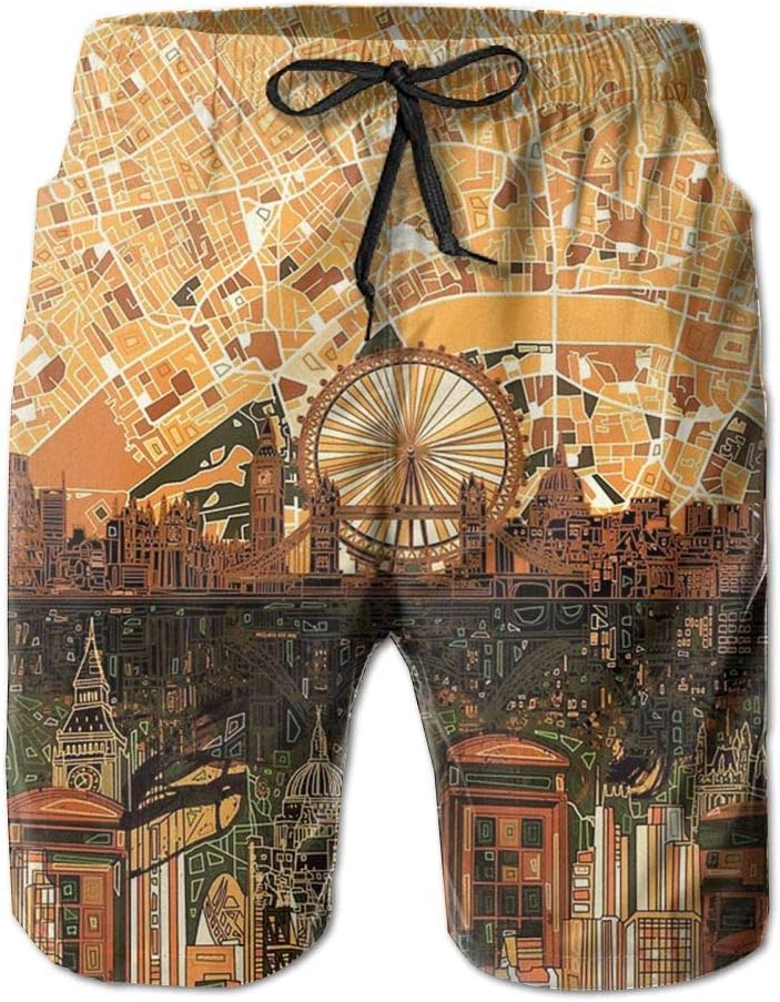 AA WIU London Skyline Mens Novelty Quick Dry Swim Trunk Drawstring Water Board Shorts Swimwear