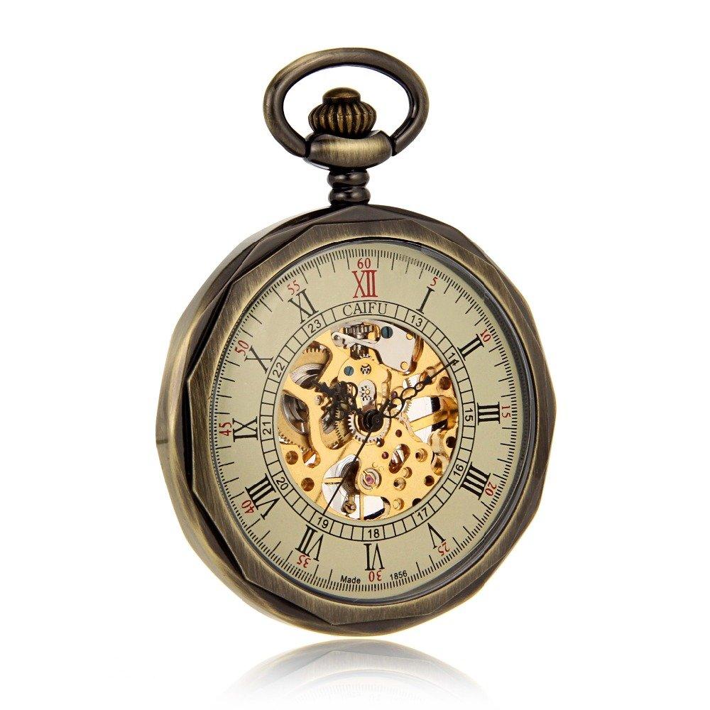 Amazon.com: Bronze Tone Open Face Skeleton Steampunk Roman Number Mens Pocket Watch Cool Vintage Analog Luxury Timepiece Reloj De Bolsillo: Watches