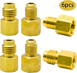 PINCHUANG 6 Pieces 6015 R134A Brass Refrigerant Tank Adapter to R12 Fitting Adapter 1/2 Female Acme to 1/4 Male Flare Adaptor Valve Core and 6014 Vacuum Pump Adapter1/4 Inch Flare Female to 1/2 Inch A