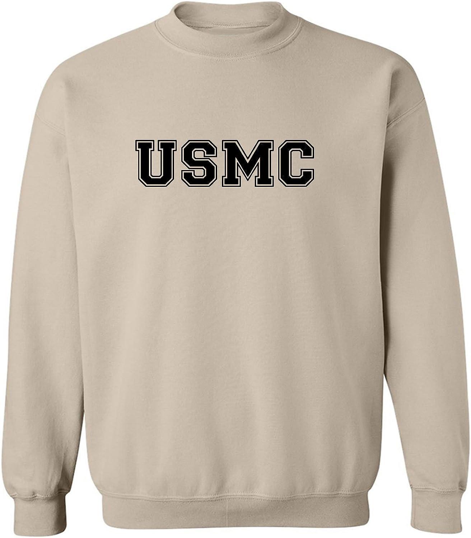 USMC Semper Fi Military Style Crewneck Sweatshirt in Sand