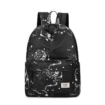 Moda Mujer Mochila Mochila escolar Cielo de Estrellas Negras Impresión patrón espacial Bagpack Bookbag impermeable de gran capacidad para niñas: Amazon.es: ...