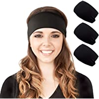 YHMALL 4 Pack Womens Cotton Sport Headbands, Stretchy Headwraps Hair Bands for Yoga Running Workout