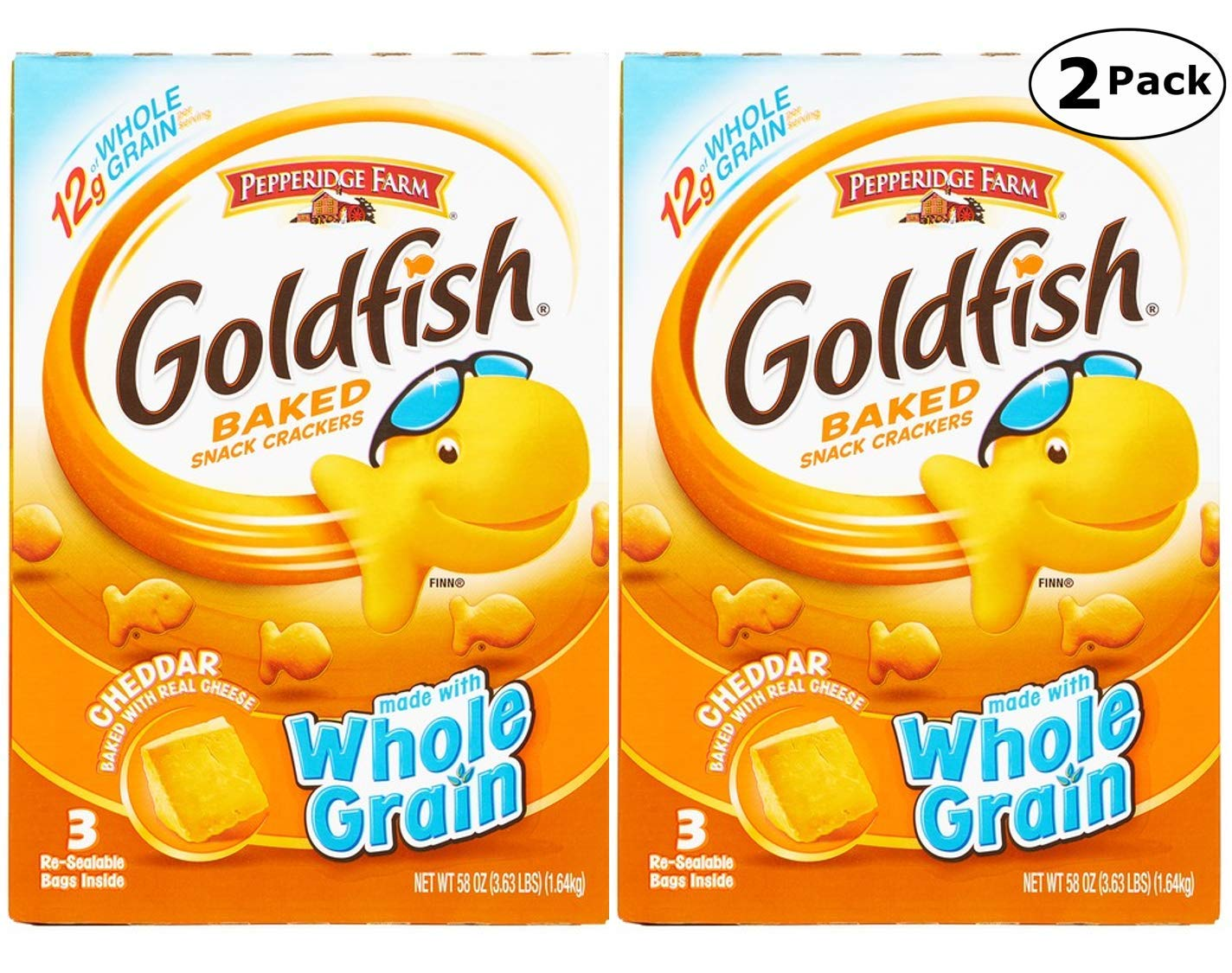 Pepperidge Farm Goldfish, Baked with Real Cheese Snack Crackers, Cheddar Flavor - 3.62 LB x 2 Pack - Total 7.24 LB