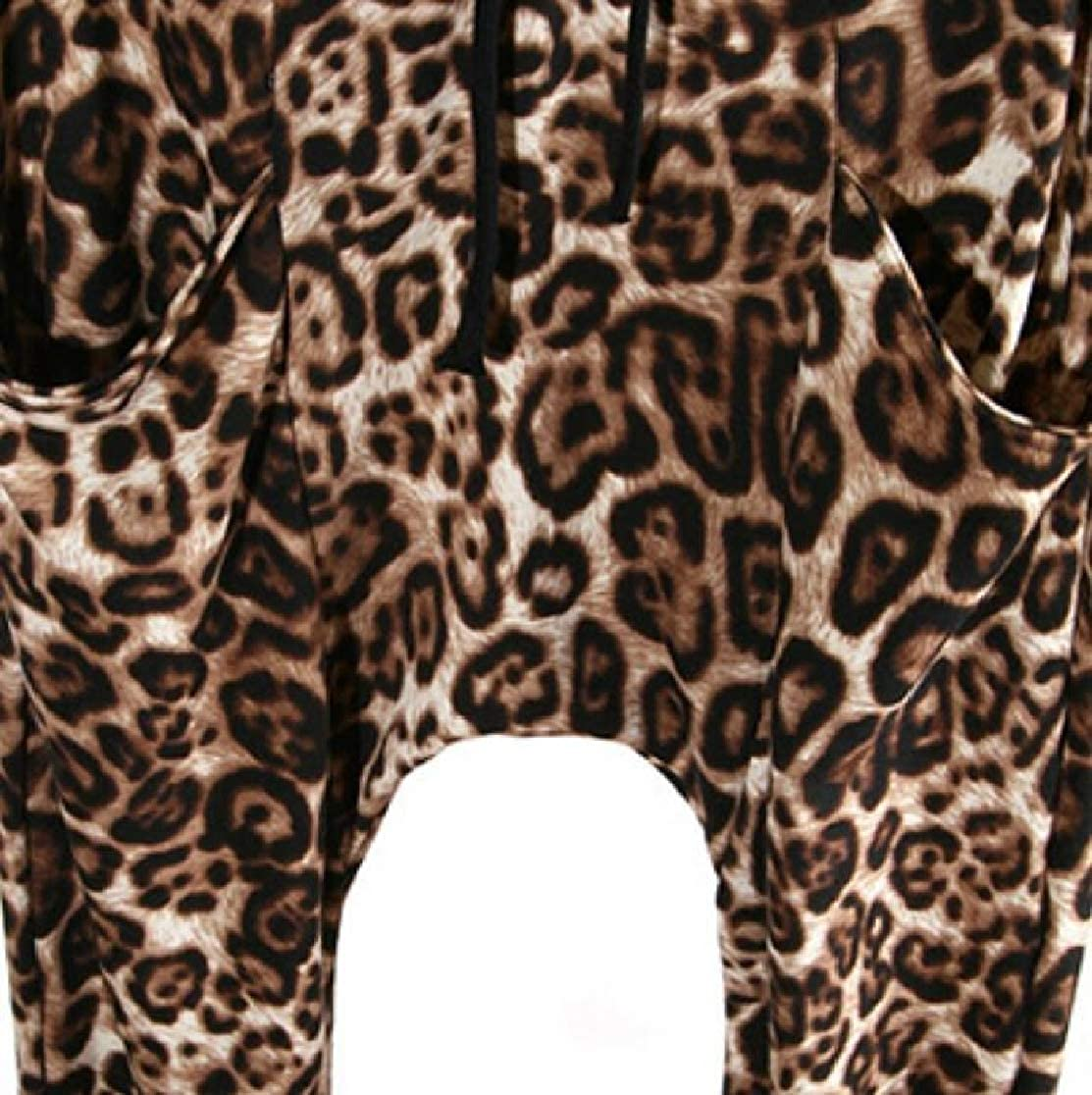 M/&S/&W Mens Jogger Pants Zipper Up 2 Piece Set Leopard Hooded Outwears Outfits