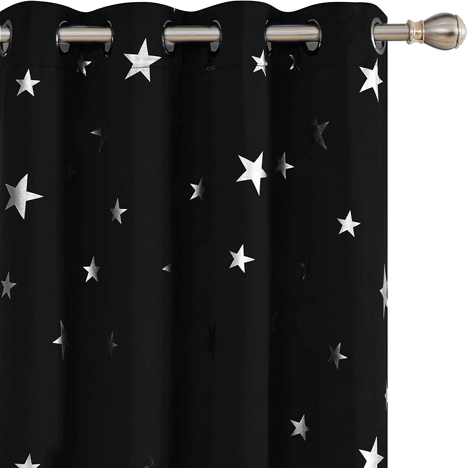 Deconovo Solid Thermal Insulated Blackout Curtains for Nursery with Silver Star Pattern 52 x 84 Inch Black 1 Pair