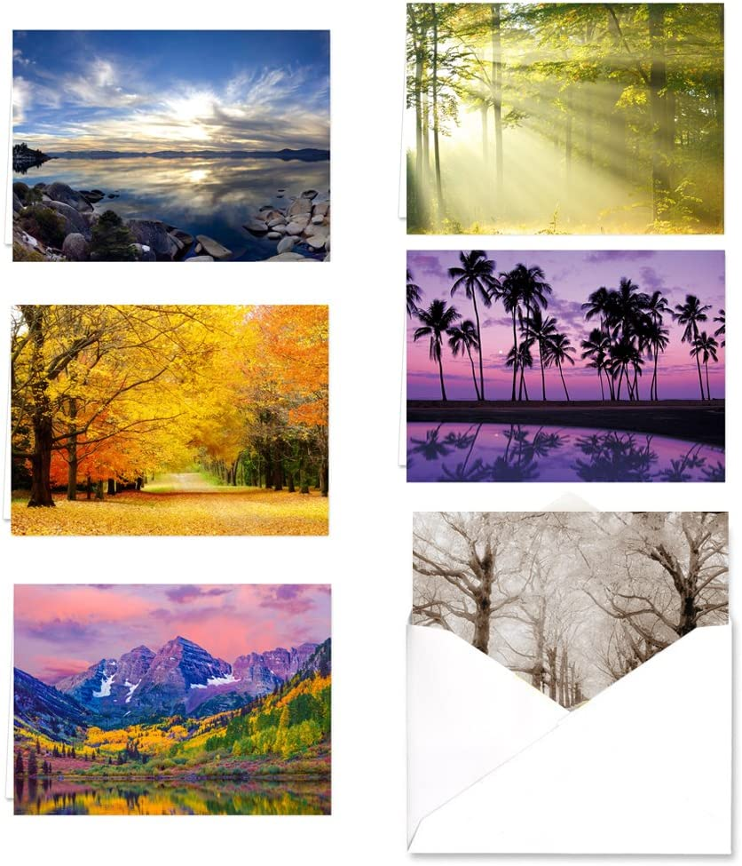 Breathtaking Landscape Note Card Assortment Pack - Set of 36 cards - 6 of each design with envelopes