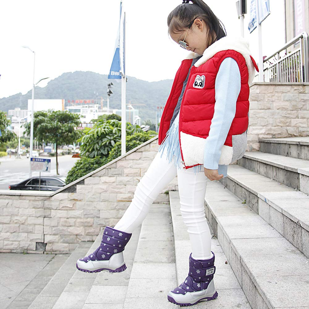 K/&T Kids Boots Girls Boys Winter Snow Boots Outdoor Waterproof Non-Slip Sneakers Toddler//Little Kid//Big Kid