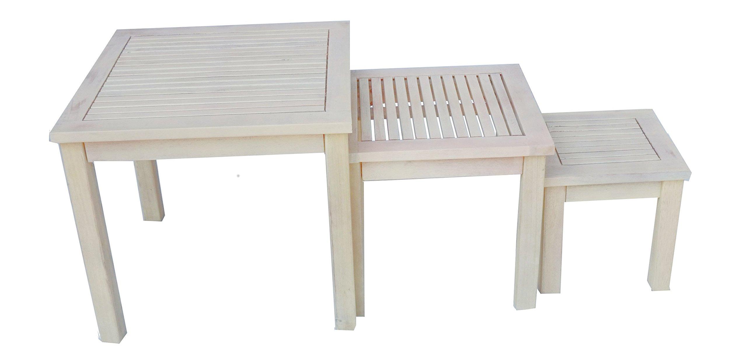 Zen Garden Hardwood Set of 3 Square Nested Side Tables, Oak White Wood Finish