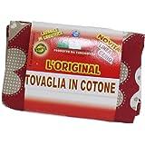 Tovaglia cucina cotone Rossa con cuori 140X180 rettangolare 100% cotone, Made in italy, Euronovità