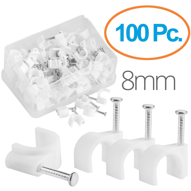 MutecPower 6mm Abrazaderas para Cables con Tornillo Incorporado en Blanco - 100 Pack