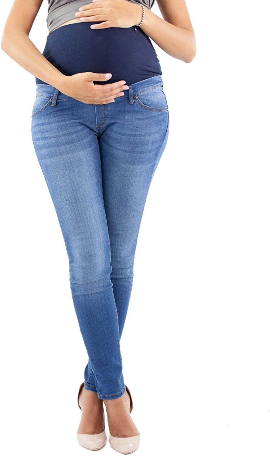 Milano Deluxe Power Stretch Fabric for Great Comfort During Pregnancy and Beyond- Made in Italy Maternity Jeggings Deluxe Wash Skinny Fit