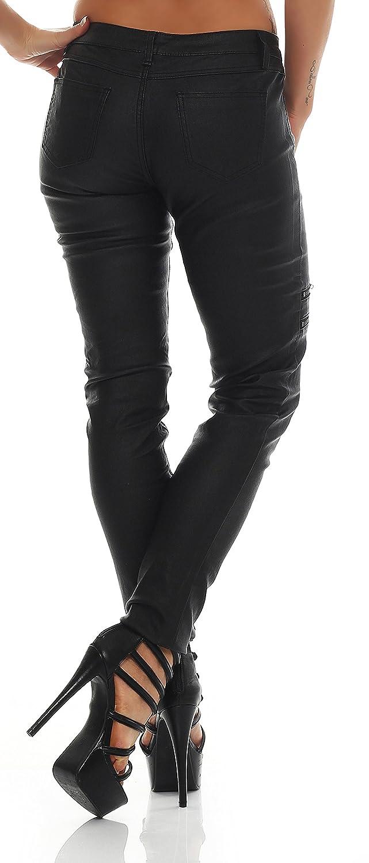 Trendige Damen Hose in Lederoptik, Matt, Glanz, Hose Röhre, Jeans mit Steppeinsatz