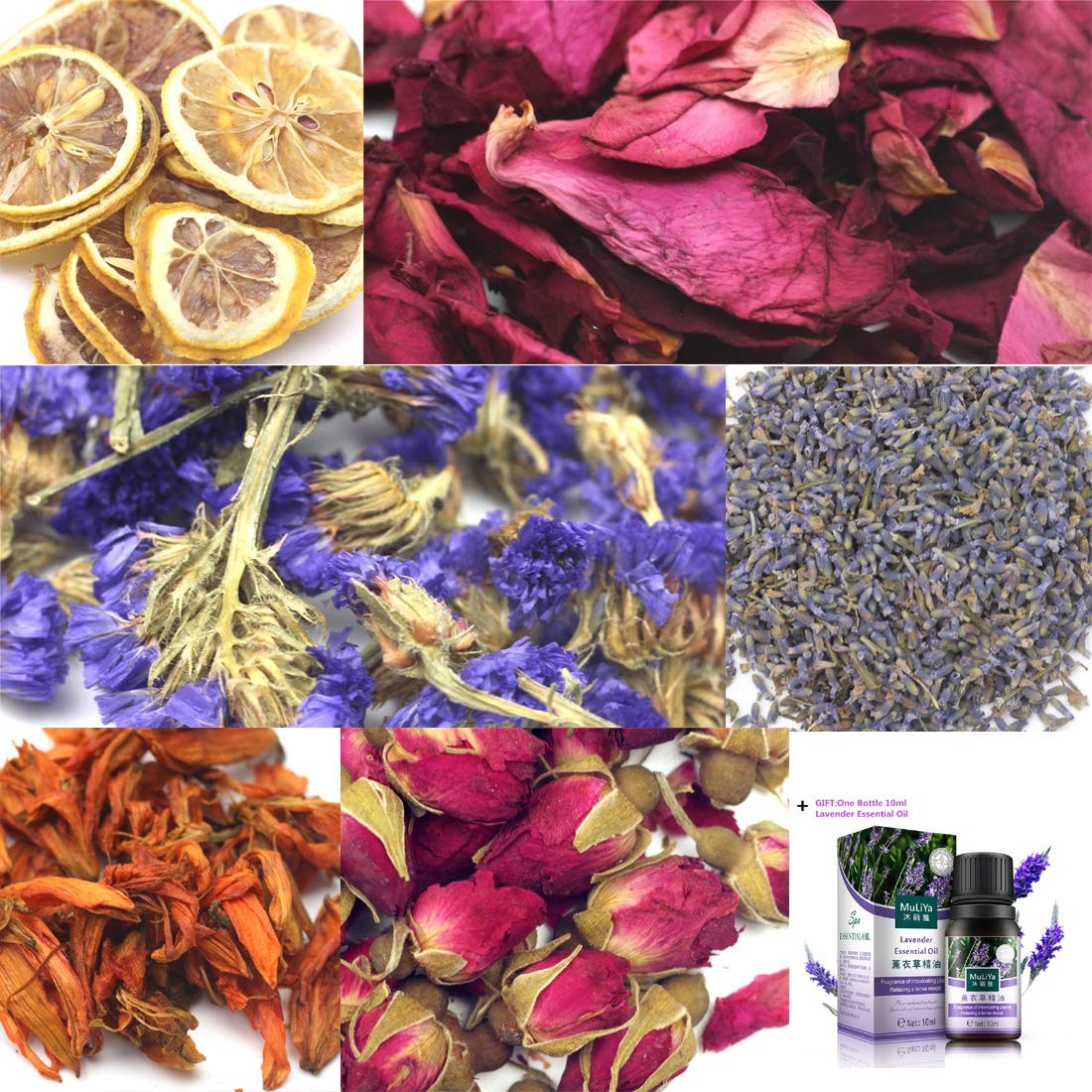 Oameusa Dried Flowers,Artisan Dried Flower Kit - Candle Making, Soap Making,DIY Soap, 100% Pure Nature Flowers, AAA Food Grade- Rose Flower, Lemon,Lavender + Lavender Essential Oil WA0040VV WA0066