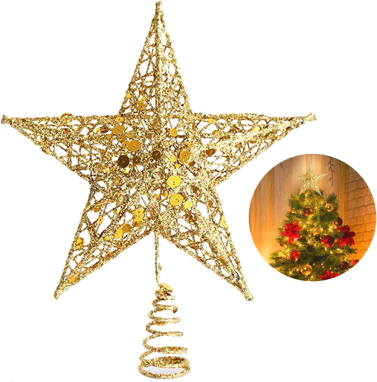 Glitter Christmas Tree Topper Metal Star Xmas Ornament Home Party Decoration