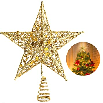 Christmas Tree Star Topper 10 Inch Xmas Tree Topper Star Christmas Decoration Glittered Tree Top Star For Christmas Tree Ornament Indoor Party Home
