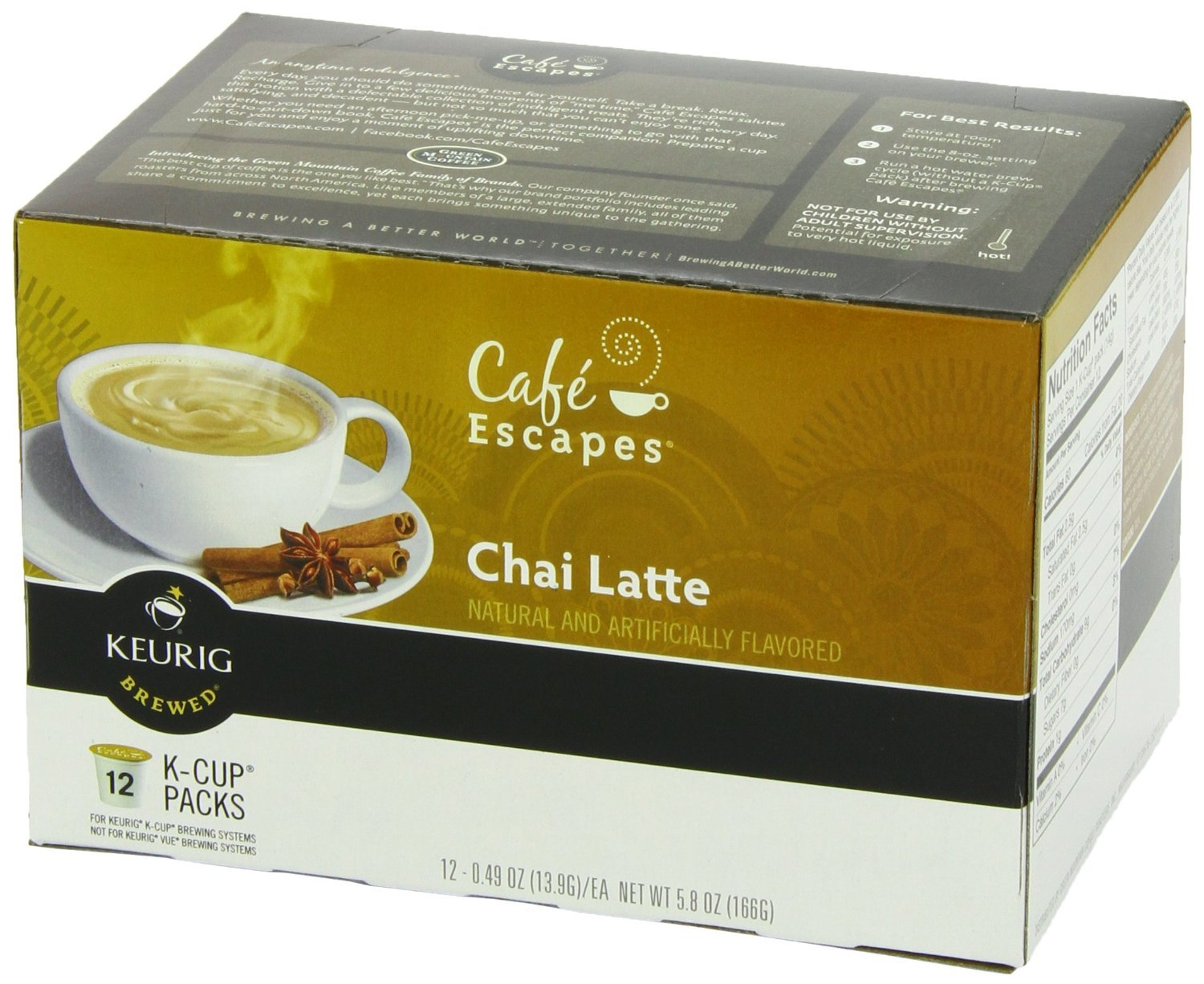 Cafe Escapes Chai Latte, K-Cup Portion Pack for Keurig Brewers, Jumbo Pack 12-Count (Pack of 6 (72 total)) by Cafe Escapes