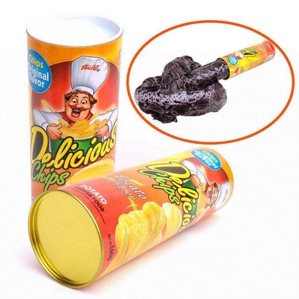 MosBug The Potato Chip Snake Can Jump Spring Snake Toy Gift April Fool Day Halloween Party Decoration Jokes In A Can Gag Gift Prank Large Size candy
