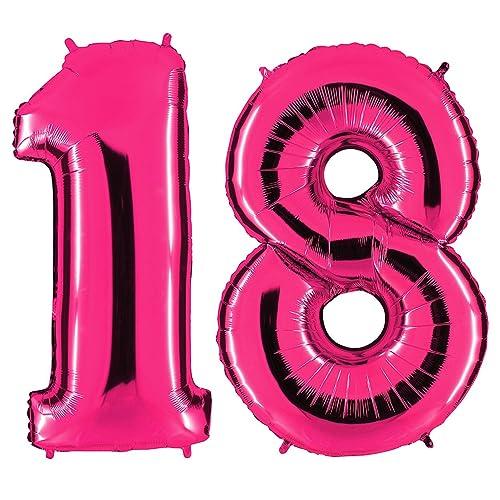 Ballon chiffre 18en rose–XXL géant Nombre 100cm–pour 18ème anniversaire–Party cadeau décoration ballon gonflable ballon Happy Birthday ros