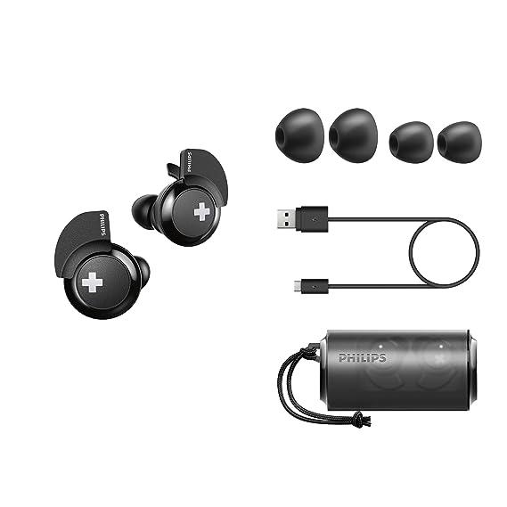 Philips Bass+ SHB4385BK - Auriculares Bluetooth (Manos Libres, sin Cable, Deportivo, con micrófono, Cargador, Ligeros, Graves potentes) Negro: Amazon.es: ...