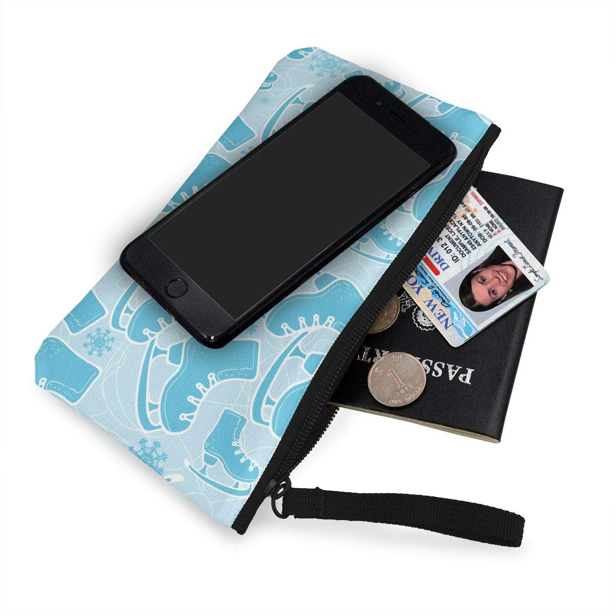 Canvas Coin Purse Ice Skate Change Cash Bag Zipper Small Purse Wallets