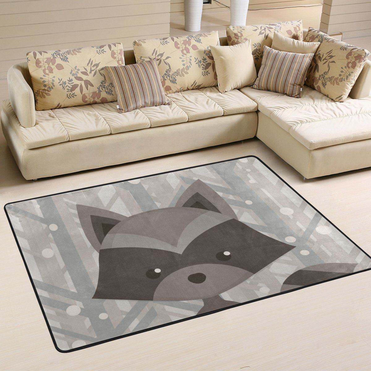 SAVSV 6' x 4' Area Rug Carpet Doormat Lightweight Printed Cartoon Raccoon Pattern Easy to Clean For Living Room Bedroom