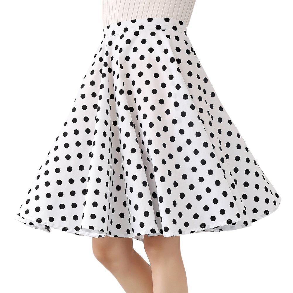 100% Cotton Polka Dot Floral 50s Vintage Retro Swing Full Circle Skirt (Large, White Black Polka Dot)