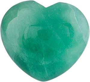 SUNYIK Natural Fluorite Puff Heart Pocket Stone,Healing Palm Worry Stones(1.6
