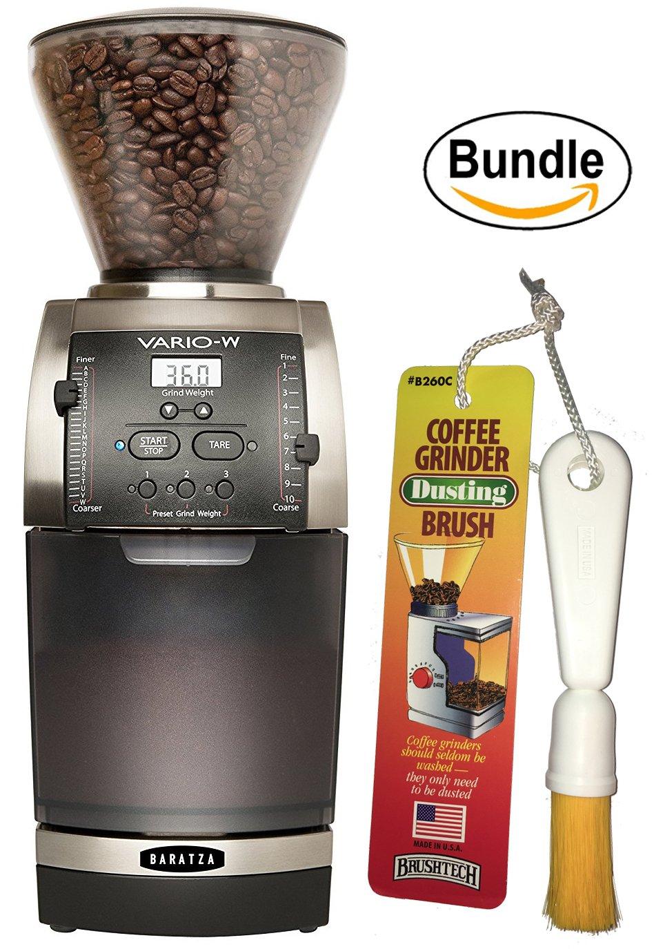 Baratza Vario-W 986 - Flat Ceramic Burr Coffee Grinder (with Shut-off Hopper and Bin) & Brushtech Coffee Grinder Dusting Brush (Bundle)