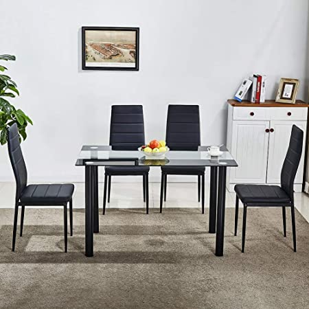 Huisen Furniture Glass Dining Room Chairs Table Set 4 Black Faux