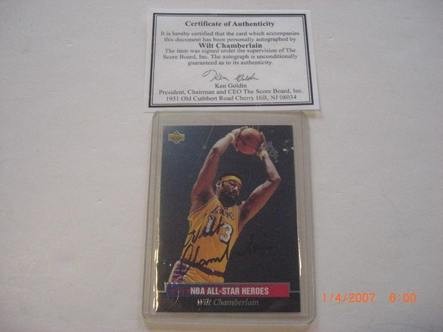 Wilt Chamberlain Losangeles Lakers Auto Scoreboard coa Signed Card -  Basketball Autographed Cards at Amazon s Sports Collectibles Store 119e23e05
