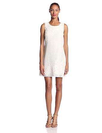 Yoana Baraschi Women's Cornflower Lace Shift Dress, Crystal White, X-Small