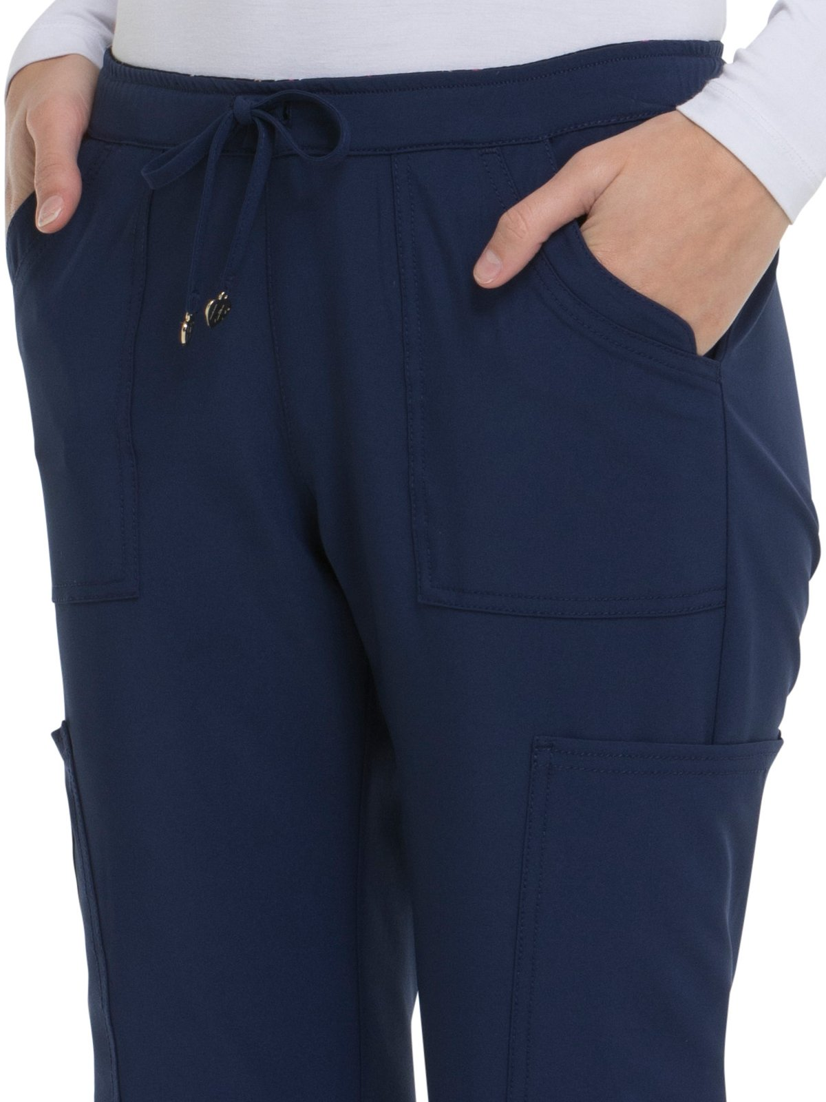 HeartSoul Love Always by Women's Charmed Low Rise Drawstring Cargo Scrub Pant Small Petite Navy by HeartSoul (Image #3)