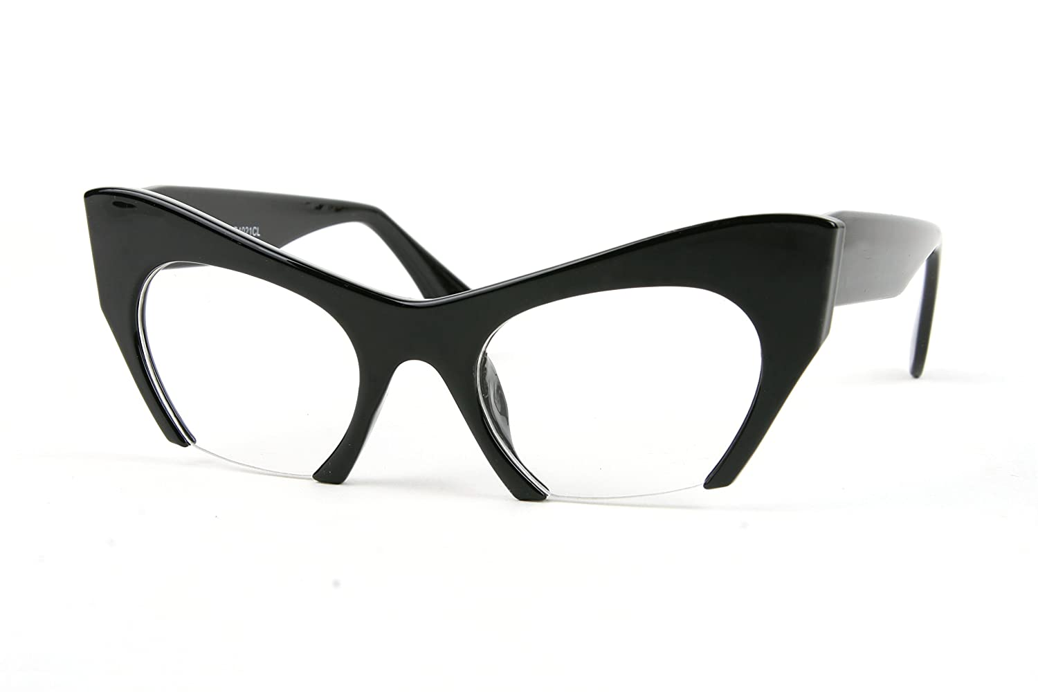 Semi-Rimless Style Cat Eye Frame Clear Lens Glasses P4021CL