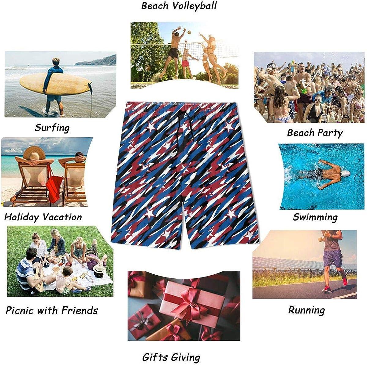 CAWHJDW USA Patriotic Camouflage Teenager Swimwear Waterproof Board Shorts
