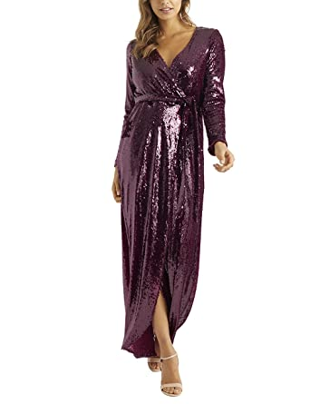d8acbdbac1158e LIPSY Womens All Over Sequin Wrap Maxi Dress - Red -  Amazon.co.uk  Clothing