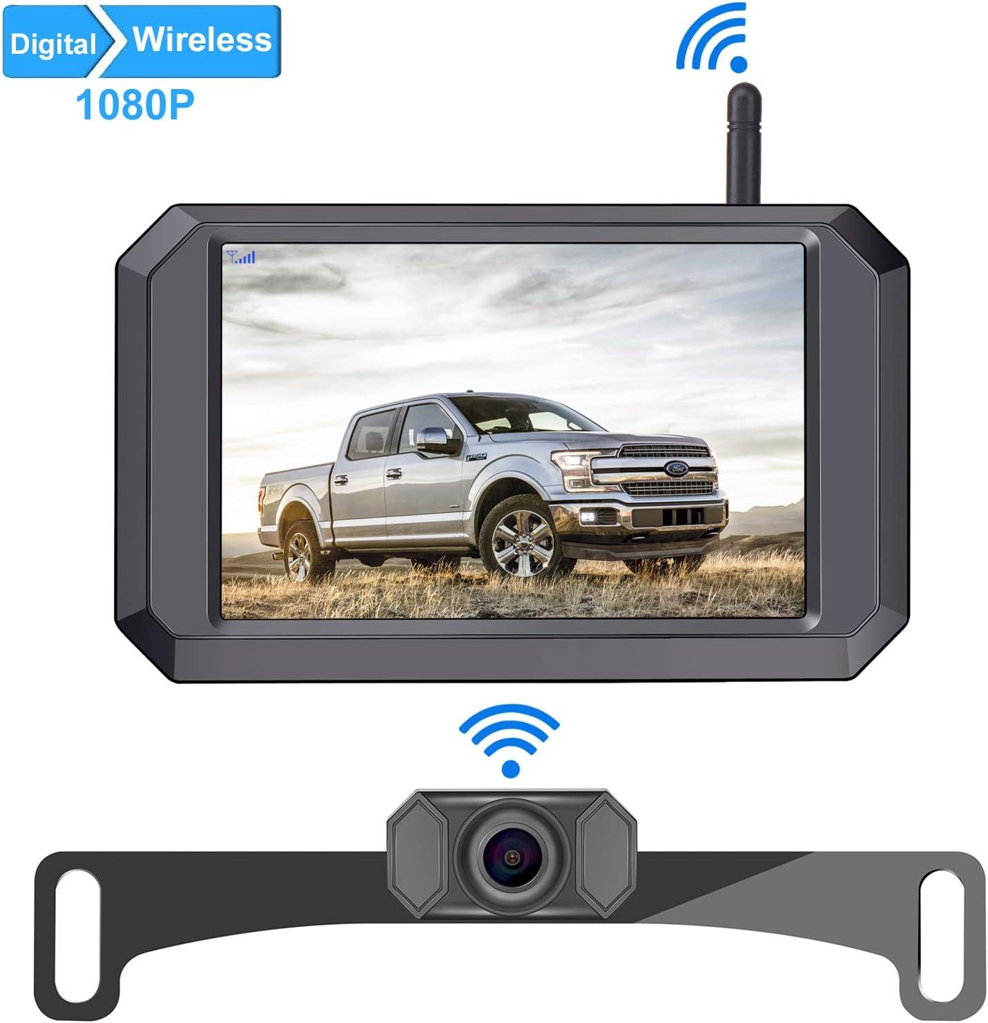 LeeKooLuu F09 HD 1080P Digital Wireless Backup Camera 5'' Display License Plate Hitch Rear View Camera for Trucks