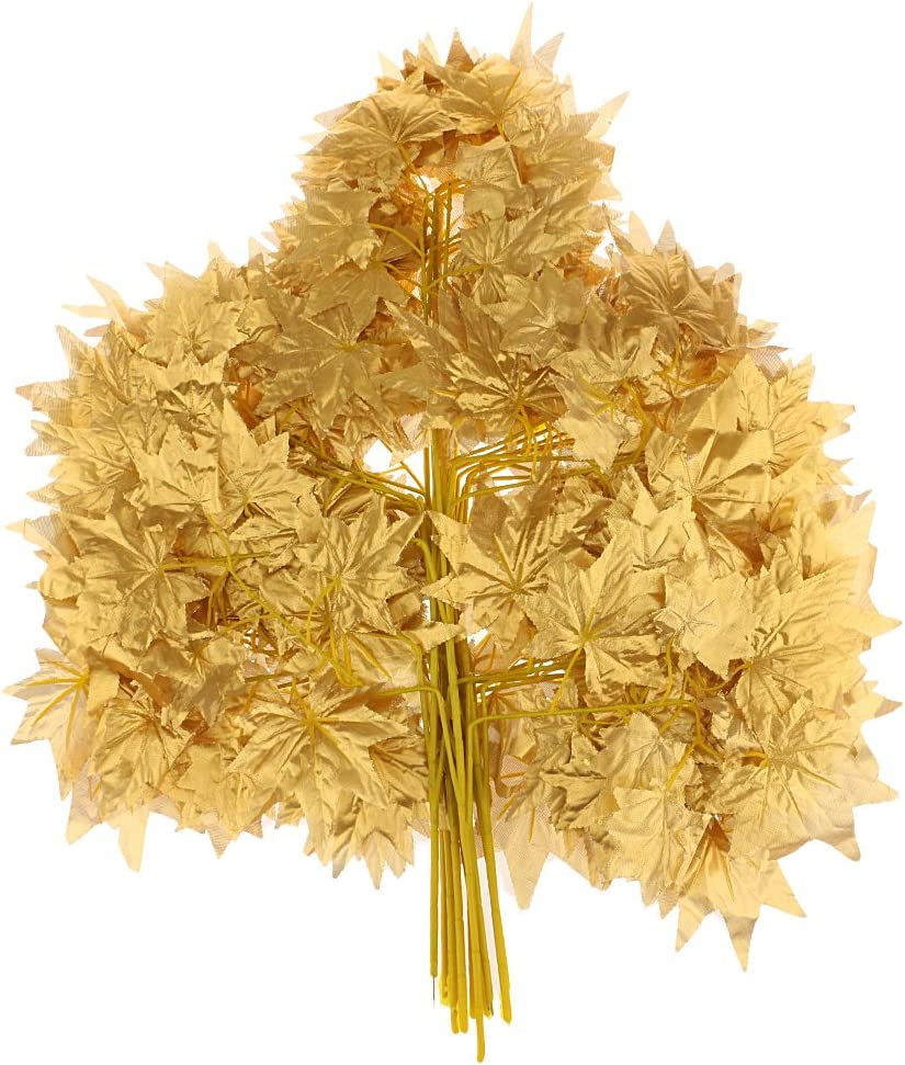 12pcs Artificial Silk Plastic Maple Leaf Autumn Fall Leaves for Wedding House Party Venue Decorations - Gold