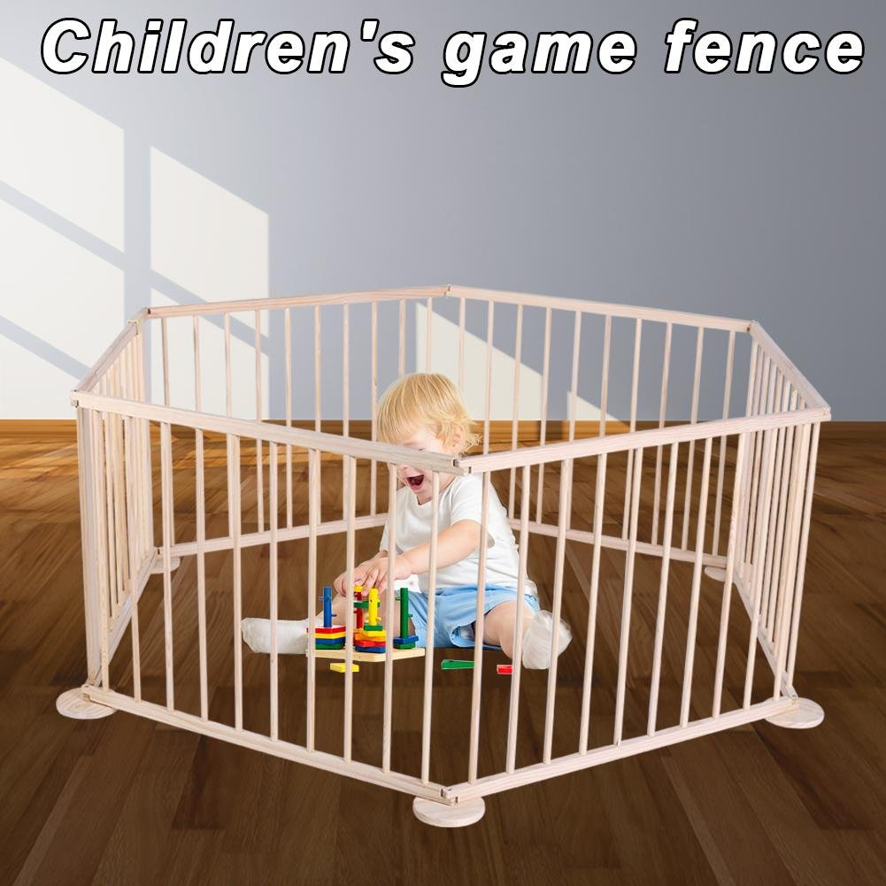 Occitop Baby Playpen Kids Toddler Natural Wooden Divider Safety Gate 6 Panel