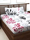 Story@Home Floral Print 240 TC 100% Cotton Double/Queen Size Bed Bedsheet with 2 Pillow Covers, Pink & White