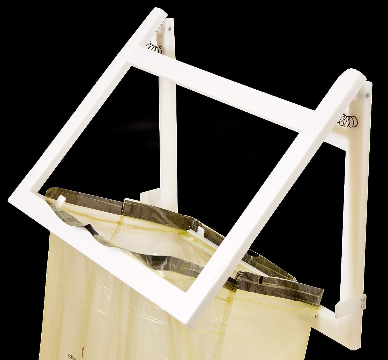 T/ürkis Material Kunststoff M/ülltrennung Klapp-Schnapp Verpackung = EINWEG Wandhalterung verschlie/ßt den Gelben Sack geruchsdicht Sackst/änder platzsparend Farbe Wei/ß