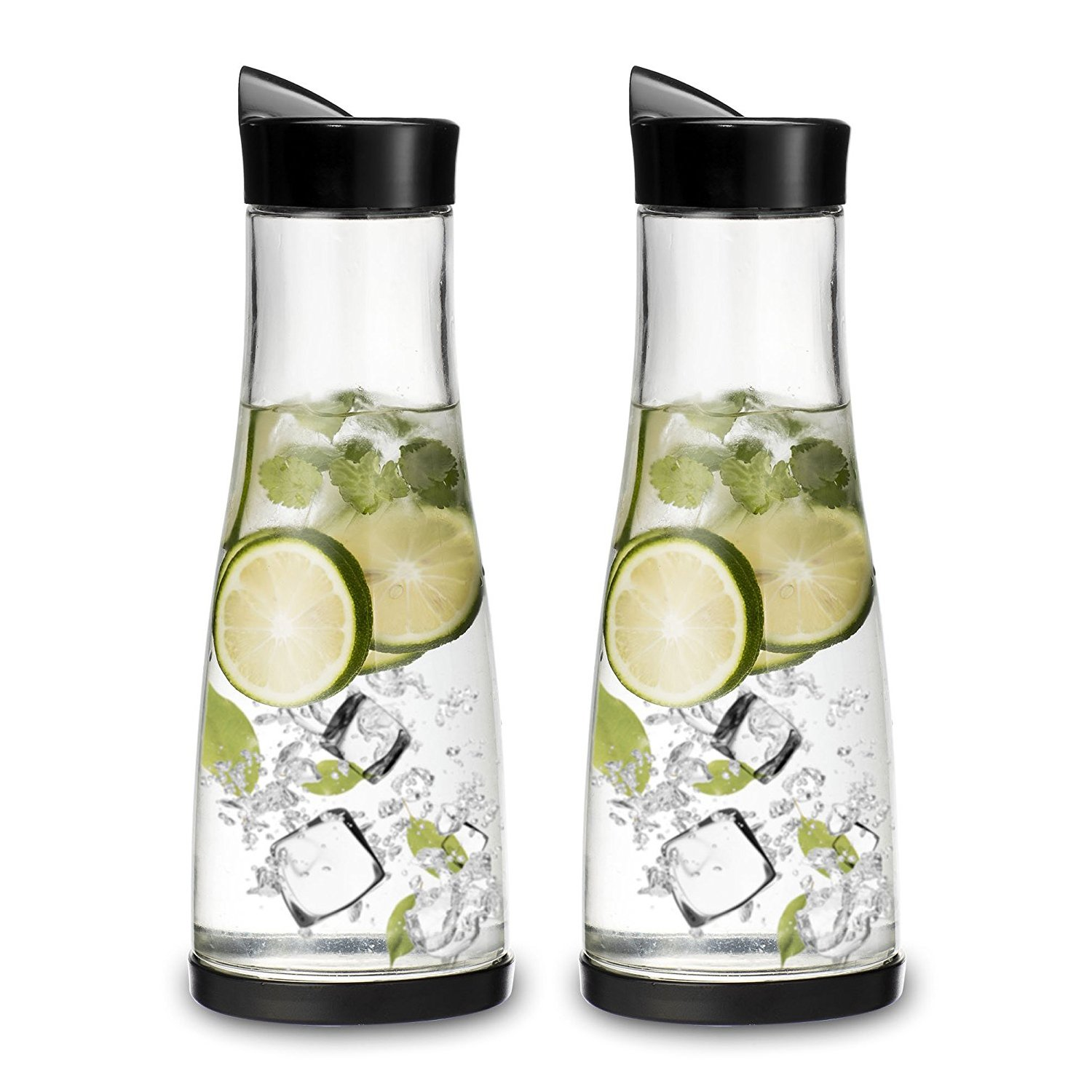 Chefoh Glass Water Carafe With Lid And Protective Base, EZ Pour Drip Spout 1 Liter/33.8 Oz, Fridge Water Pitcher Bottle Dispenser, Great For Juice, Lemonade, Iced Tea, Milk, Wine | Set of 2