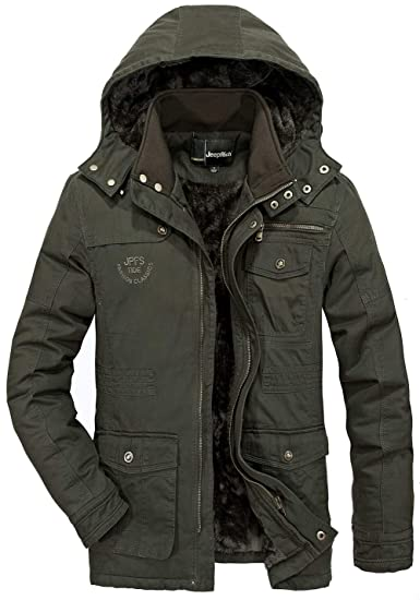 2019734b8bf6 FGYYG New Men s Fashion Hooded Detachable Jacket Winter Outdoor Warm Thicken  Faux Fleece Lining Parka Coat