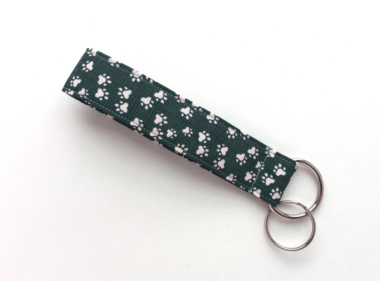 Cat and Dog Paw Prints Keychain Wristlet - 100% Organic Cotton Fabric Key Lanyard