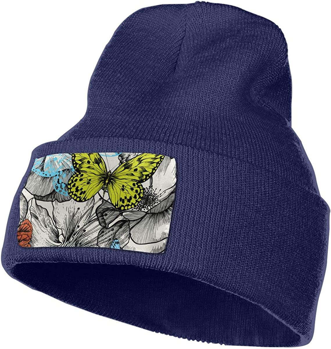 QZqDQ Roses and Flying Butterflies Unisex Fashion Knitted Hat Luxury Hip-Hop Cap