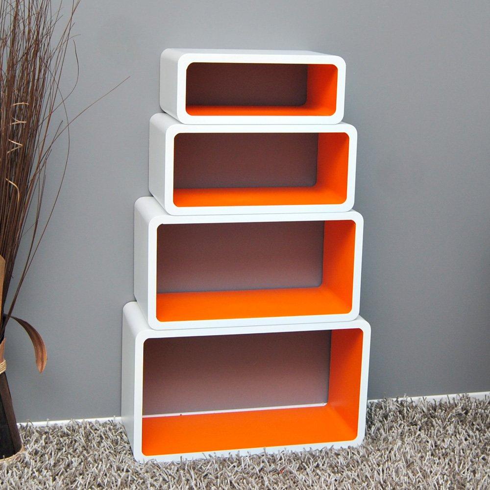 Amazing Bibliotheque Profondeur 20 Cm #13: Lot De 4 étagères Salon Cube  étagère Murale étagère Design Blanche Orange W18: Amazon.fr: Cuisine U0026  Maison