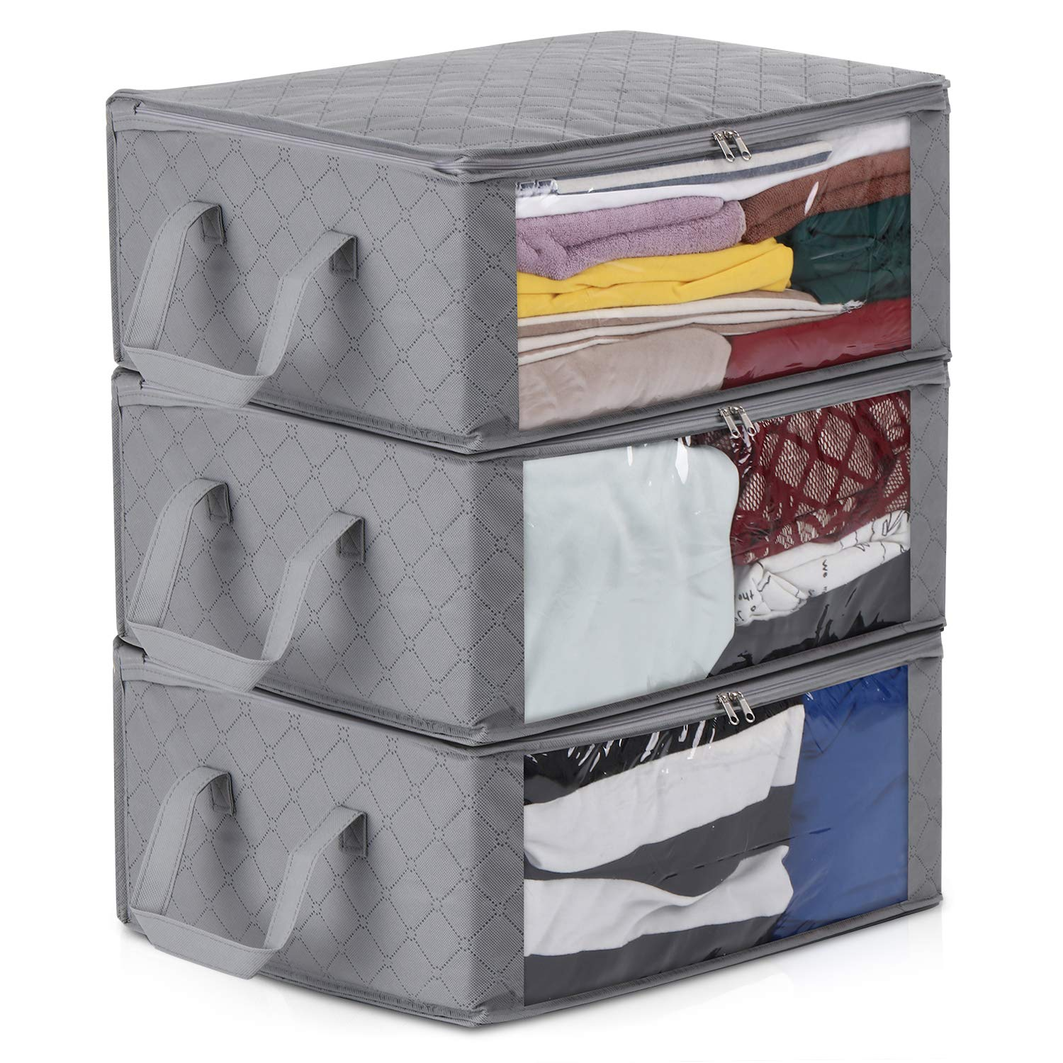 Magicfly Foldable Clothes Organizer 3 Sections Storage Bag Clear Windows Carry Handles for Clothes, Blankets, Closets, Bedrooms