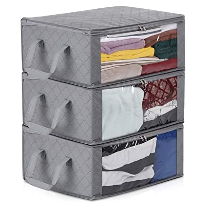 bb27dcf522ab Magicfly Foldable Blanket Organizer Bags, Clothing Storage Bag with Large  Clear Window & Carry Handles, Perfect for Blankets, Closets, Clothes, and  ...
